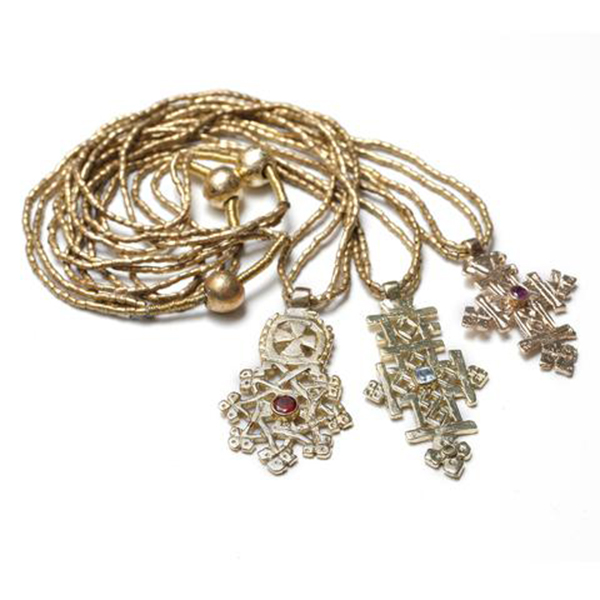 Gold-Plated Ethiopian Cross with Gem on Double Brass Chain