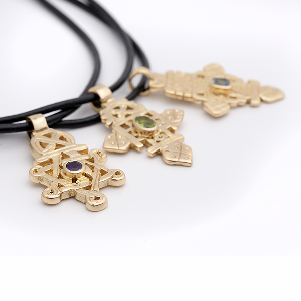 Gold-Plated Small Ethiopian Cross with Gem on 3mm Leather Choker