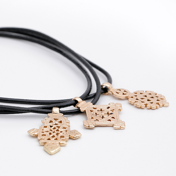 Gold-Plated Small Ethiopian Cross on 3mm Leather Choker