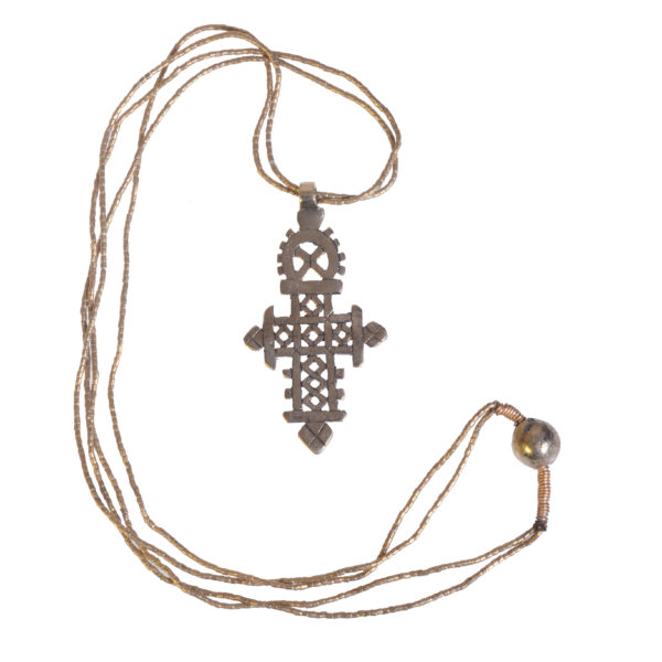 Gold-Plated Large Ethiopian Cross Plain on Double Brass Chain