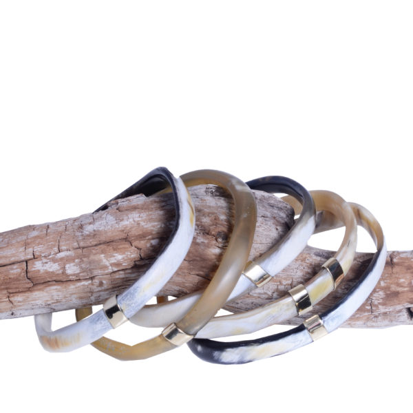 Nguni Skinny Horn Bangles with Brass