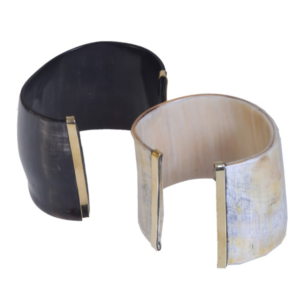 Nguni Horn Cuff with Brass Edges