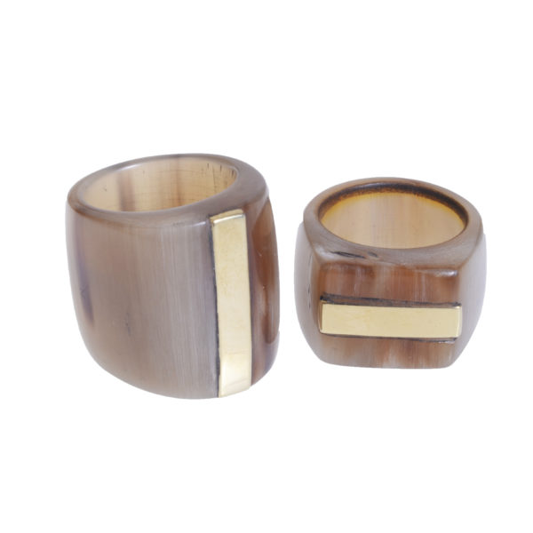 Nguni Large Horn Ring with Brass Stripe