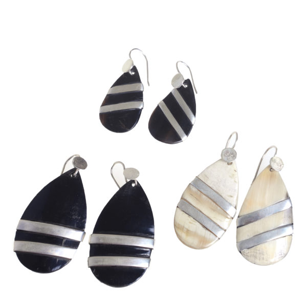 Nguni Large Teardrop Earrings with Silver