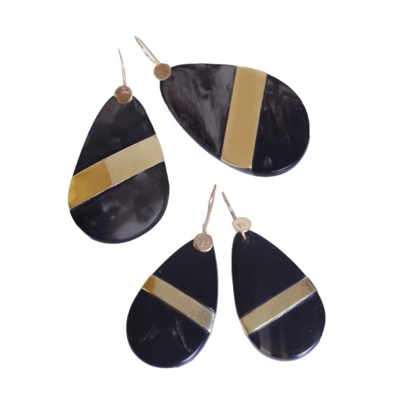 Nguni Small Teardrop Earrings with Brass