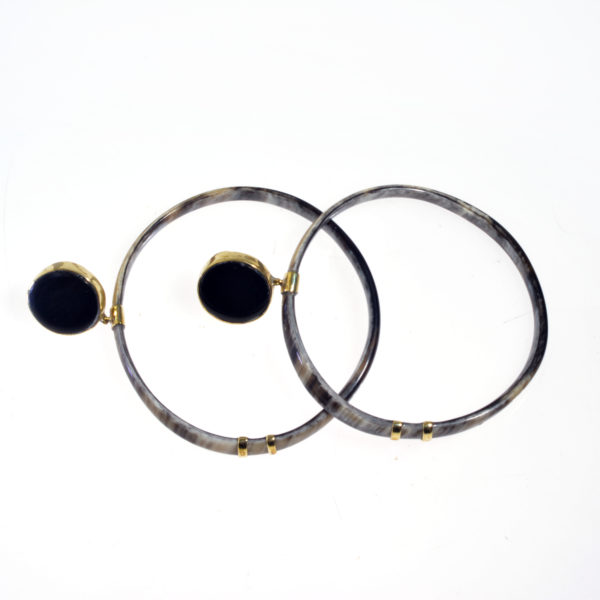 Nguni Skinny Horn Cycle Earrings with horn cap