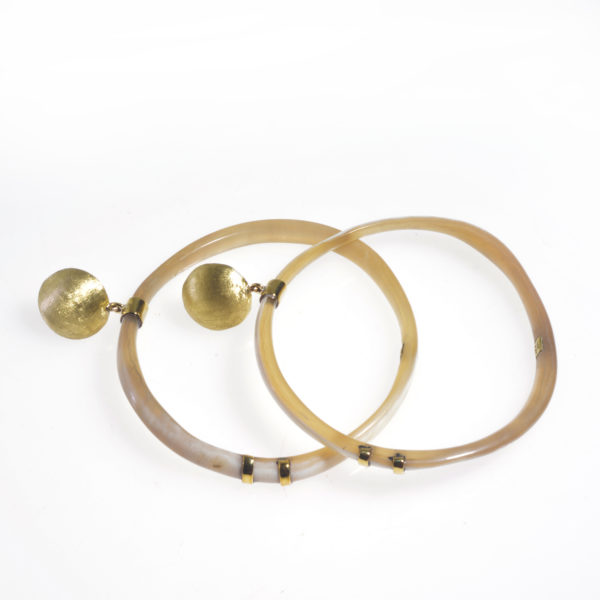 Nguni skinny horn circle earrings with brass cap