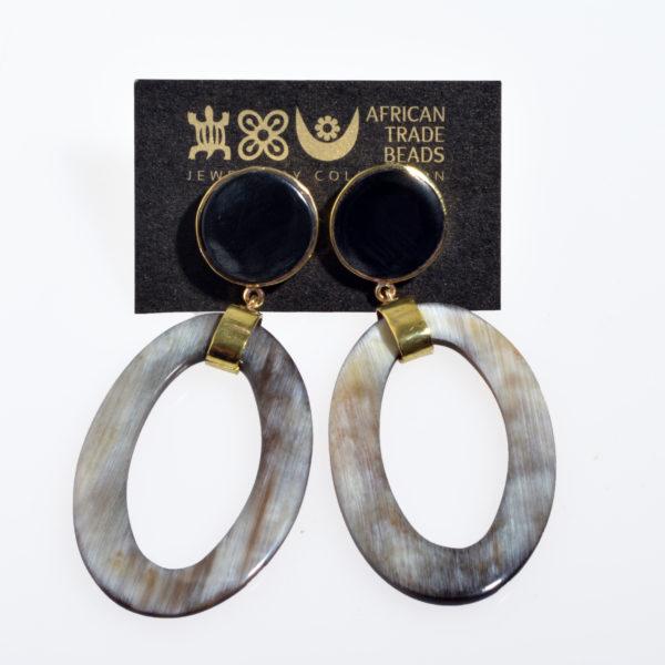 Nguni Horn Oval Earring and Horn Cap