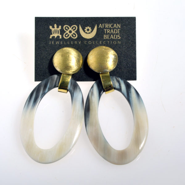 Nguni Horn Oval Earring and brushed Brass Cap