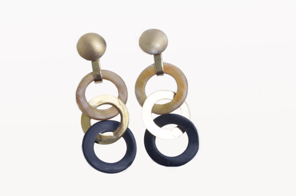Nguni horn circles with brass cap and middle brass circle