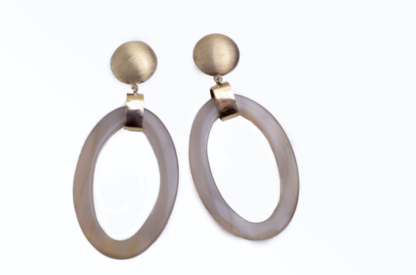Nguni horn large ovals with brass