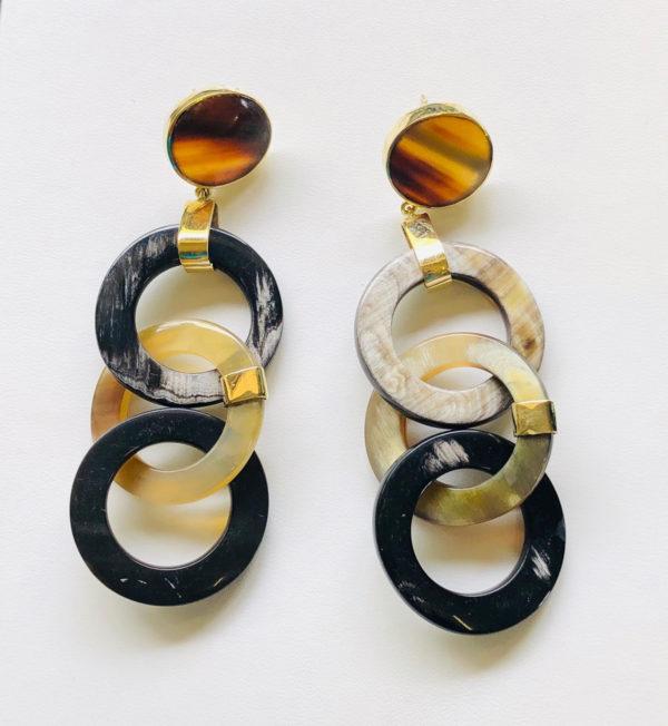 3 Nguni horn circles with brass cap